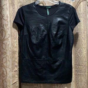 Lauren Ralph Lauren Leather Front T-shirt